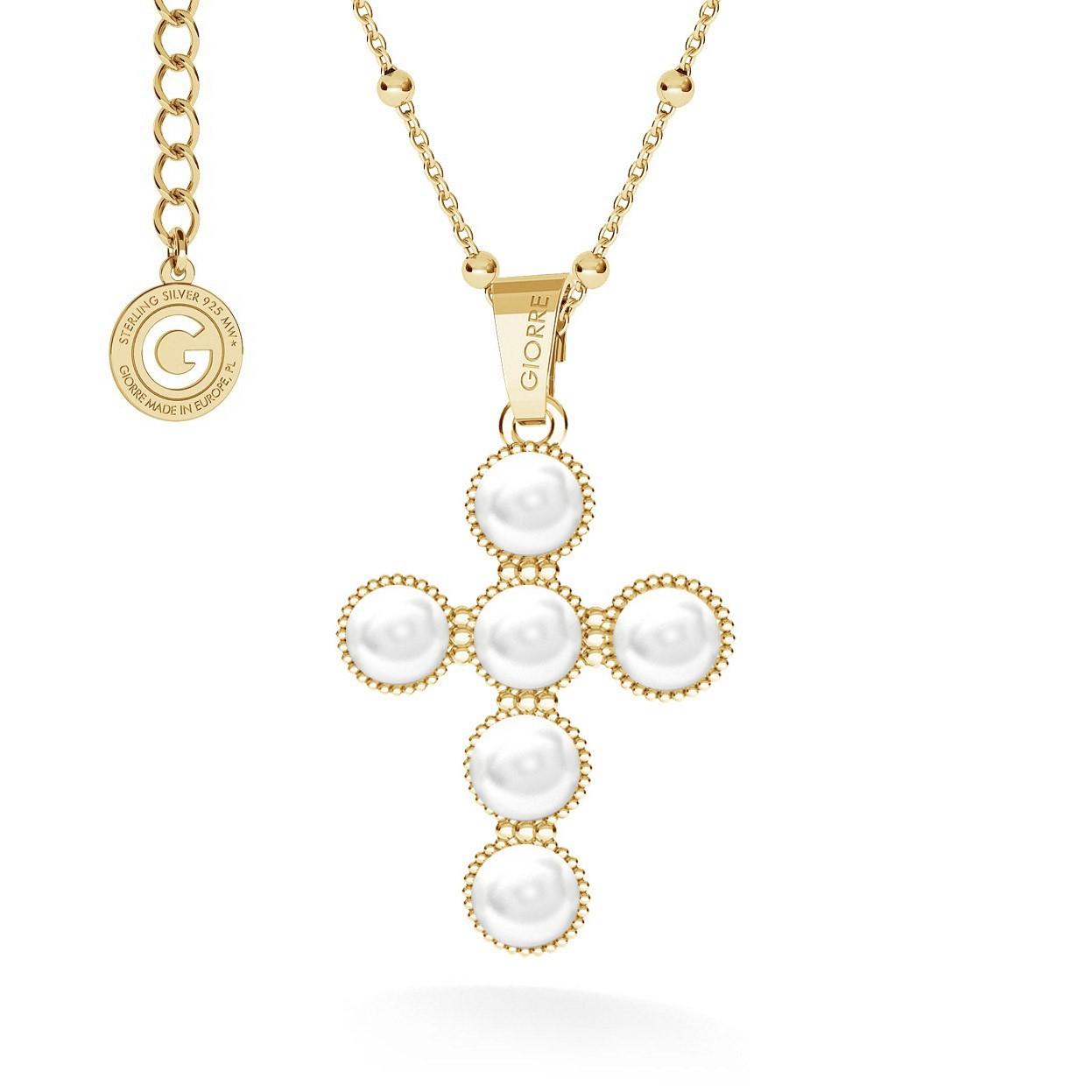 Naszyjnik krzyżyk z perłami, srebro 925 swarovski