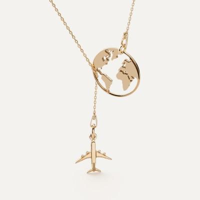 Mappa del mondo collana raso argento 925