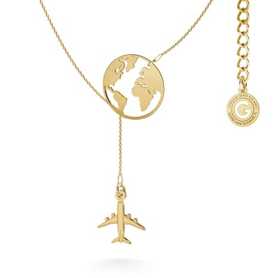 Carte du monde collier satin argent 925