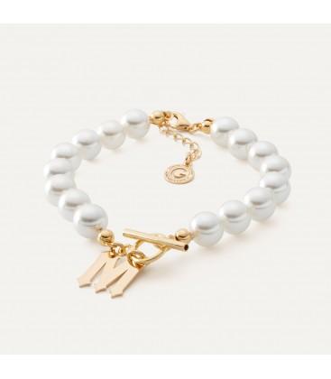 Perlen armband mit brief MON DÉFI sterling silber 925