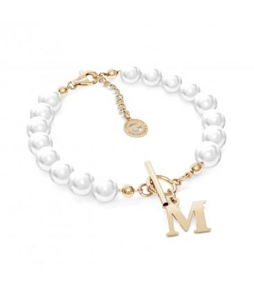 Bracciale di perle con lettera argento 925