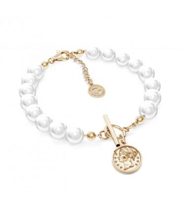 Braccialetto di perle con moneta argento 925