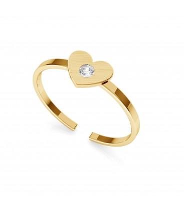 Pierścionek z sercem i kryształem Swarovskiego, My RING™, satynowane srebro 925