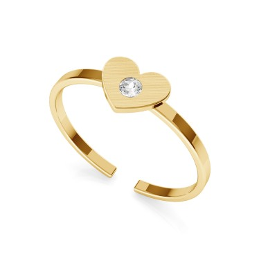 Pierścionek z sercem i kryształem Swarovskiego, My RING™ srebro 925 satynowane