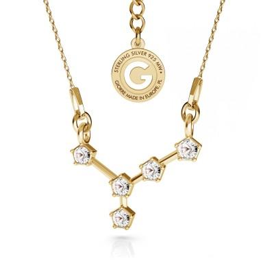 CANCER zodiac sign necklace with Swarovski Crystals silver 925