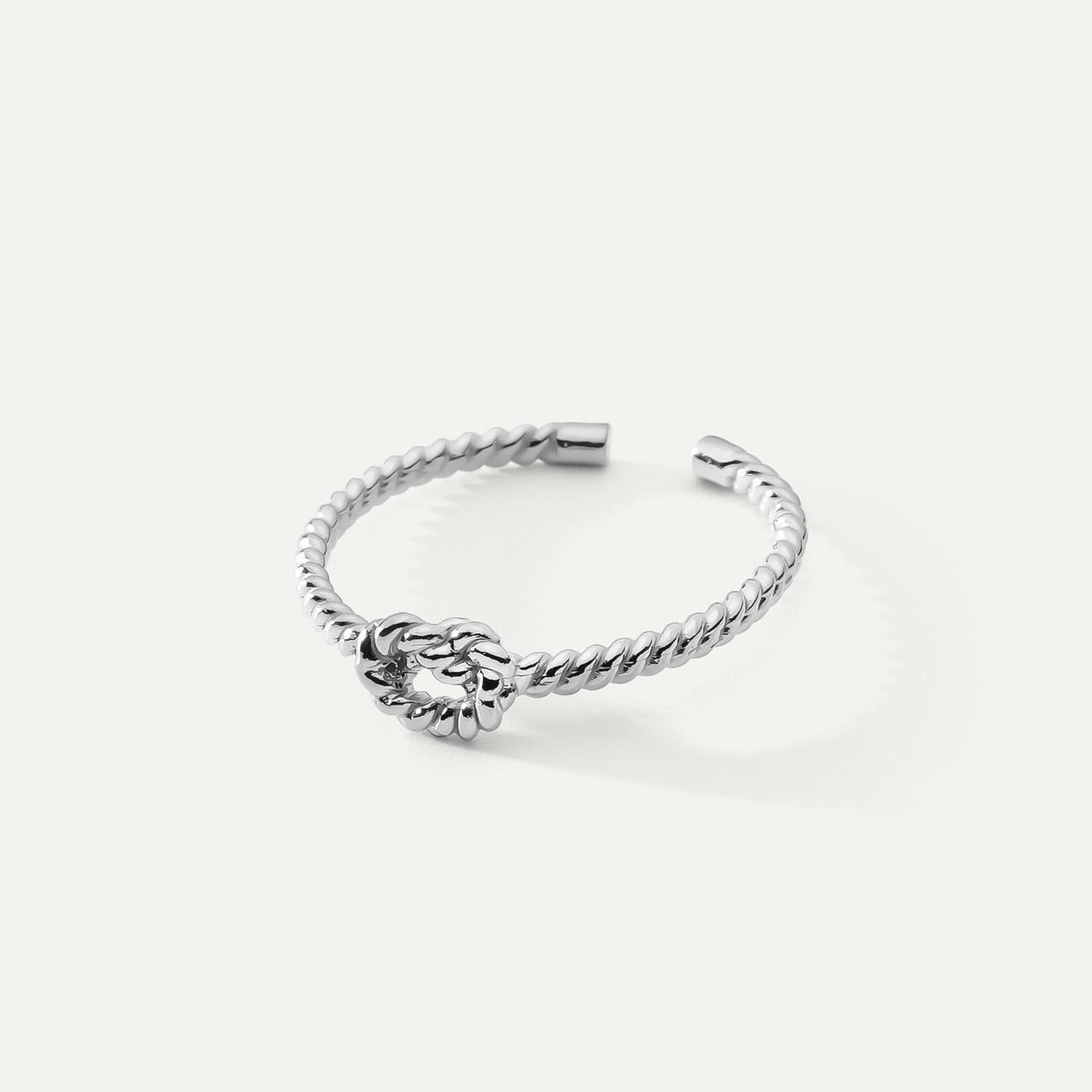 Srebrny pierścionek supeł z liny, sznurek, srebro 925