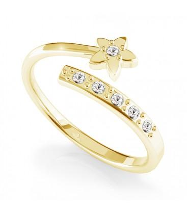 Srebrny pierścionek kwiat z kryształkami, srebro 925