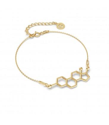 Srebrna bransoletka estrogen, wzór chemiczny, srebro 925
