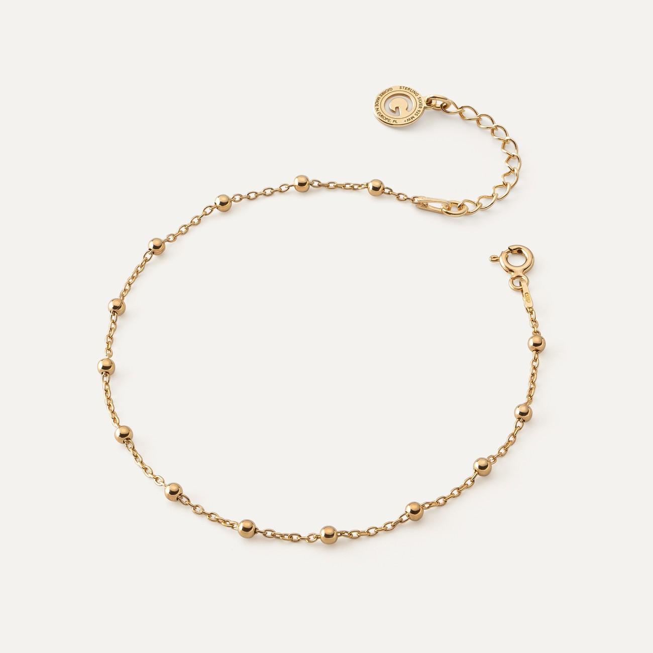 Srebrna bransoletka łańcuszkowa ankier z kulkami, srebro 925
