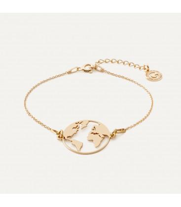 Carte du monde bracelet argent 925