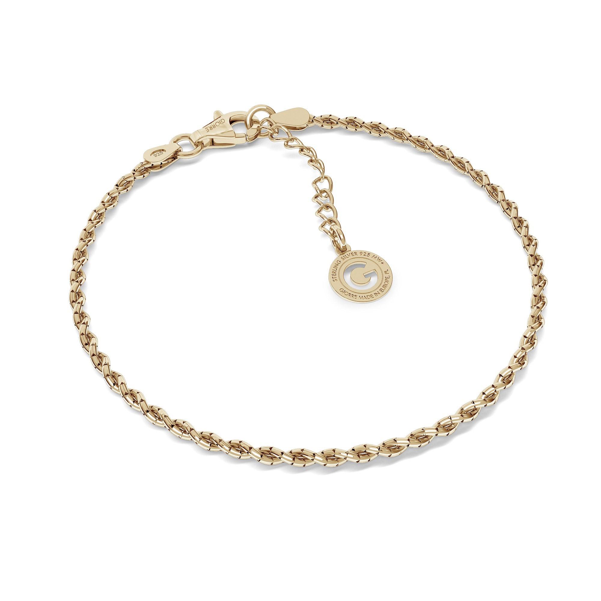 Srebrna bransoletka pleciona z 2 łańcuszków, srebro 925