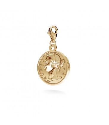 Srebrna moneta charms zawieszka beads, srebro 925
