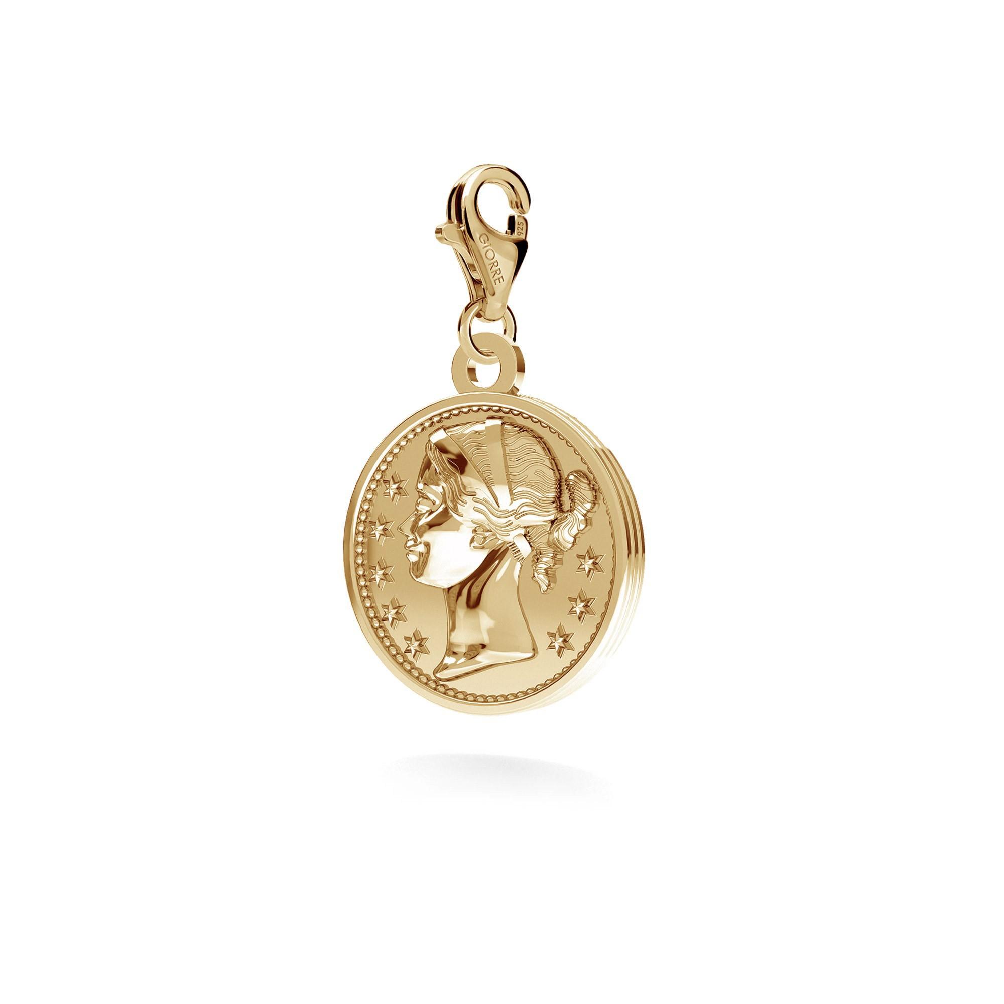 Srebrna moneta charms zawieszka beads 925