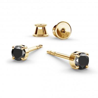 3MM BLACK DIAMOND EARRINGS 0.22K, RHODIUM OR GOLD PLATED