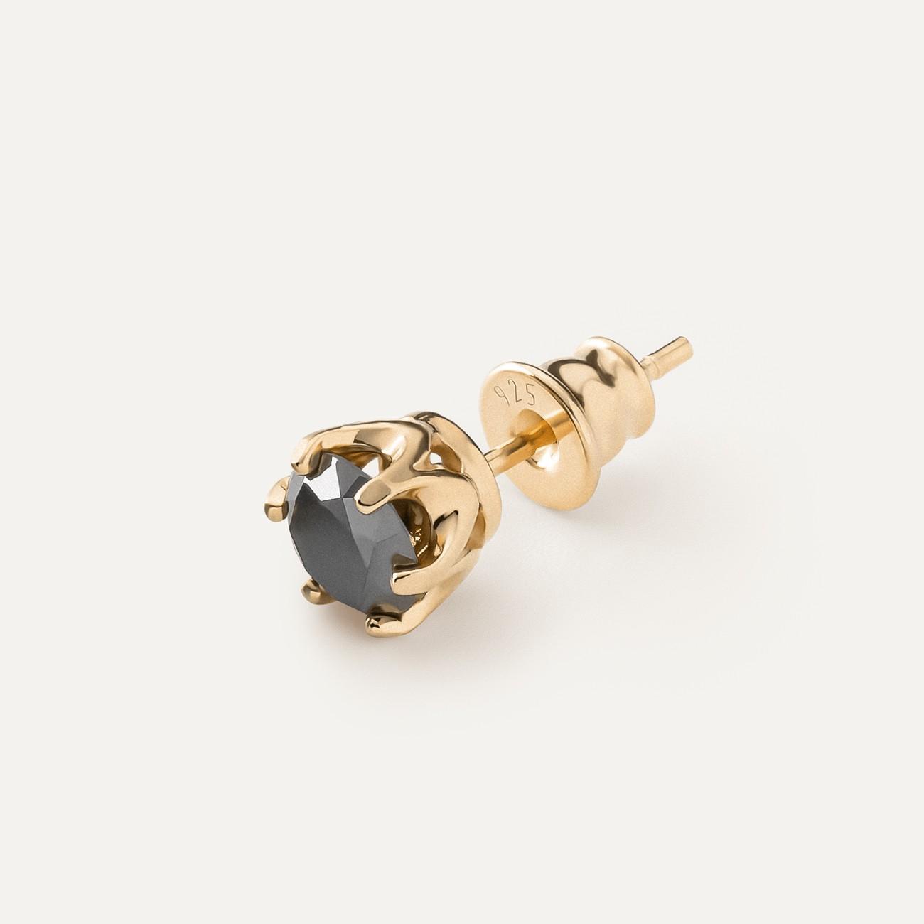 MEN'S EARRING 3MM BLACK DIAMOND 925