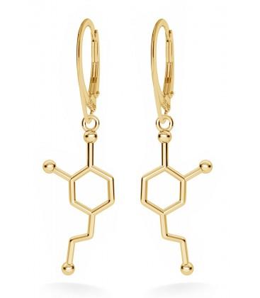 Srebrne kolczyki dopamina, wzór chemiczny, srebro 925