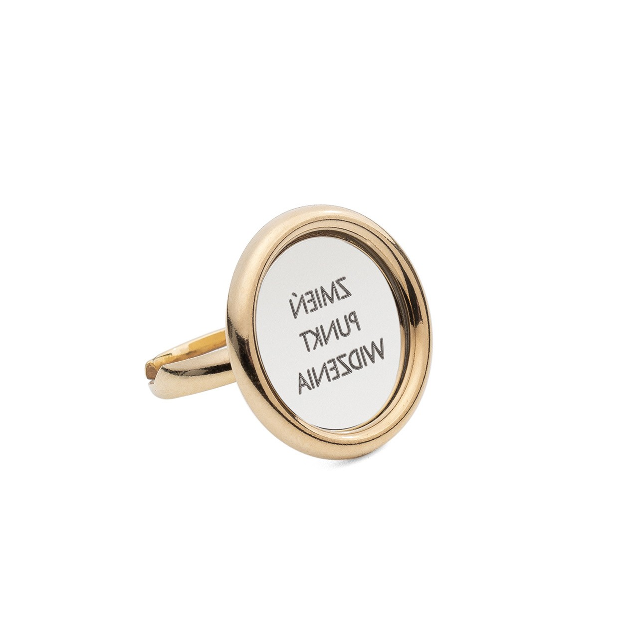 Srebrny pierścionek lustro, grawer, srebro 925