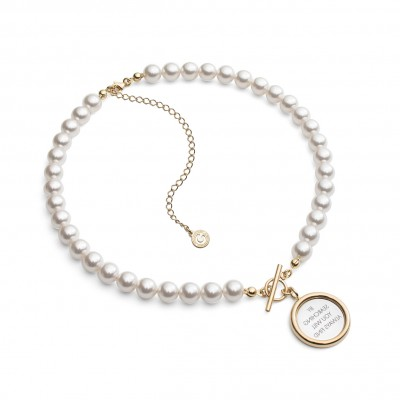 Pearls choker with mirror & your text, silver 925