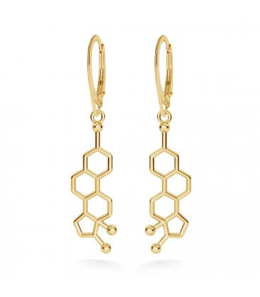 Estrogen molecular earrings chemical formula sterling silver