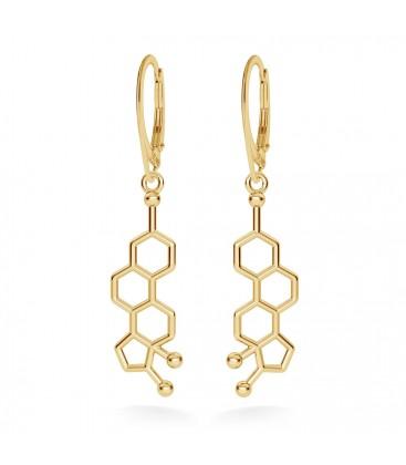 Srebrne kolczyki estrogen wzór chemiczny, srebro 925
