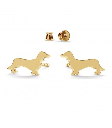 Dachshund earrings, sterling silver 925