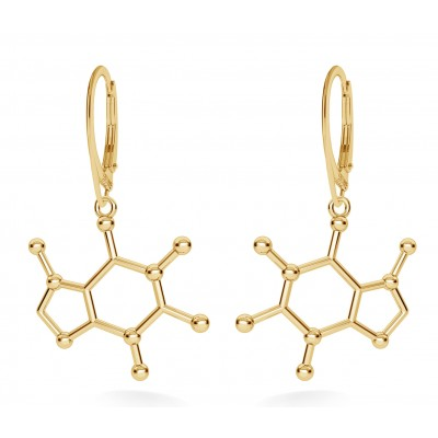 CAFFEINE EARRINGS CHEMICAL FORMULA STERLING SILVER