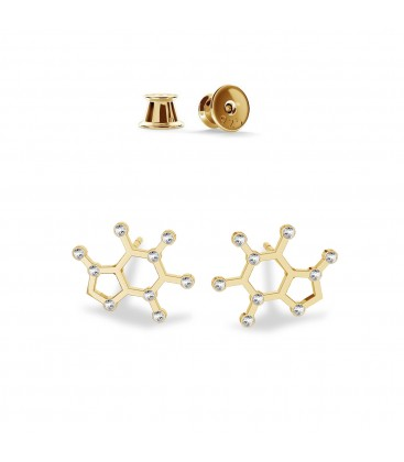Coffeina earrings with Swarovski crystals chemical formula sterling silver