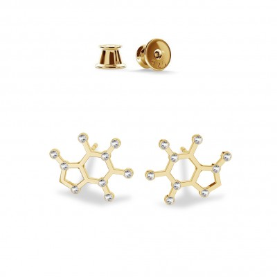 SEROTONIN EARRINGS CHEMICAL FORMULA STERLING SILVER & SWAROVSKI CRYSTALS