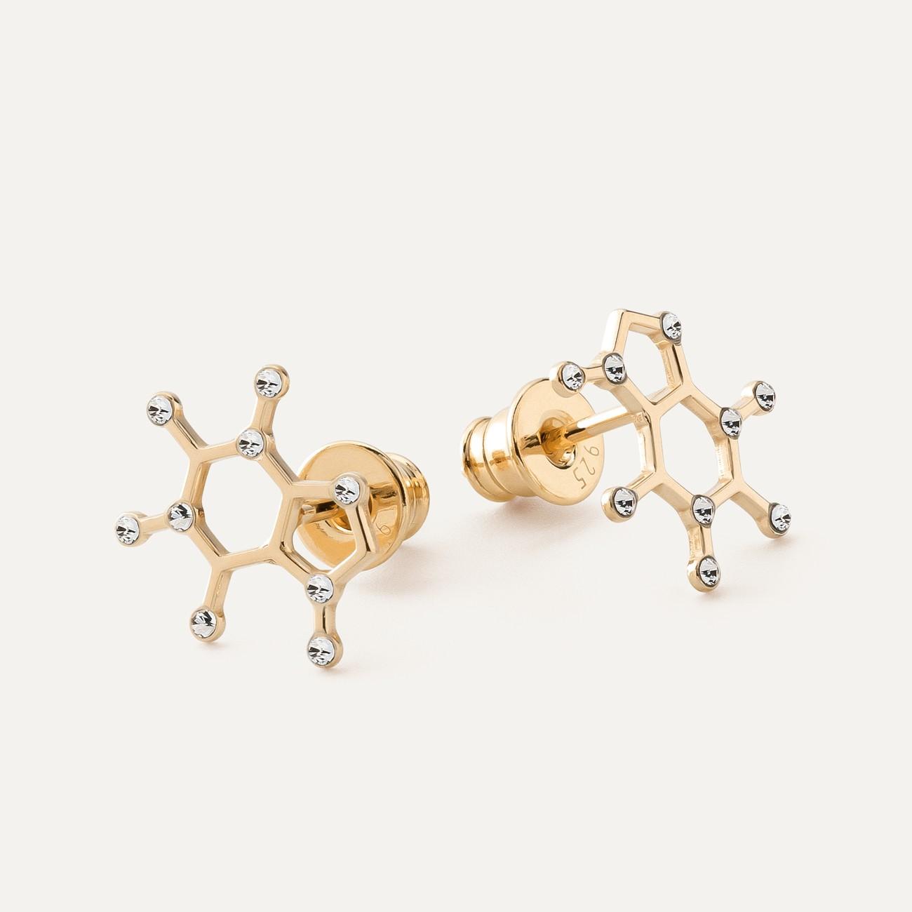 SEROTONIN EARRINGS CHEMICAL FORMULA STERLING SILVER & SWAROVSKI CRYSTALS