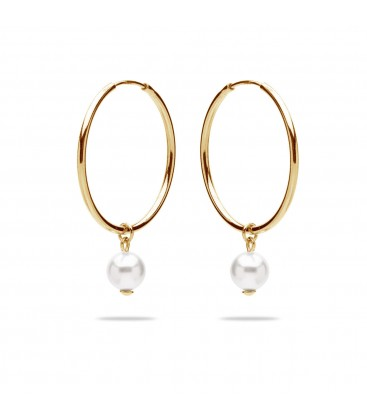 Hoop earrings with pearl, sterling silver 925