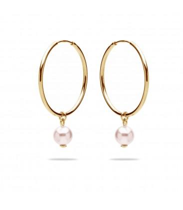 Hoop earrings with pearl, sterling silver 925