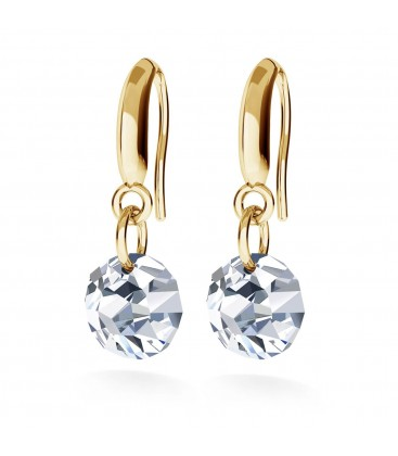 Round zirconia drop earrings