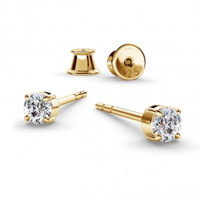 EARRINGS 3 MM SWAROVSKI ZIRCONIA, RHODIUM OR GOLD PLATED