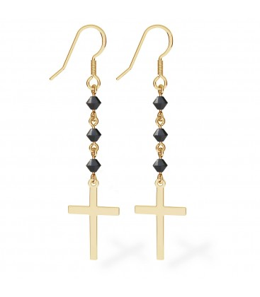 Silver earrings with cross, Swarovski