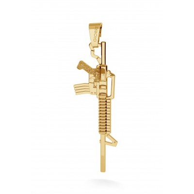 CHARM 31, MACHINE GUN, SILVER 925, RHODIUM OR GOLD PLATED