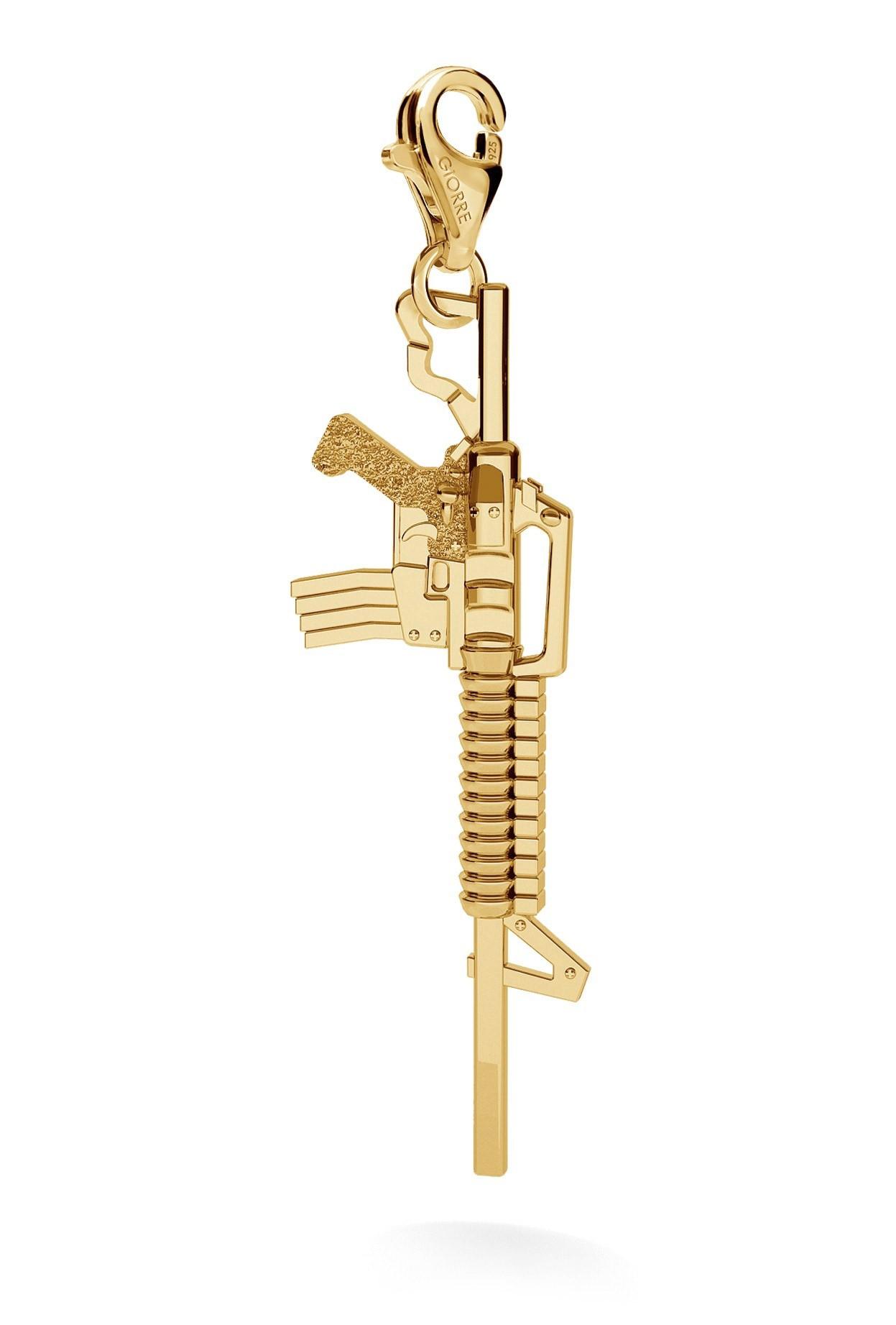 CHARM 31, MACHINE GUN, SILVER 925, RHODIUM OR GOLD PLATED