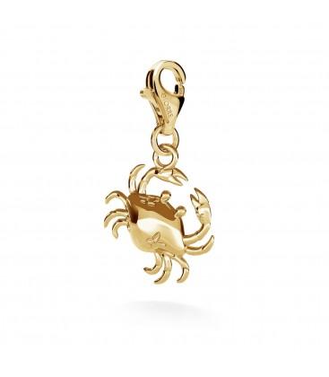 Srebrny charms beads zawieszka krab, srebro 925