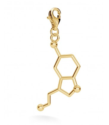 Srebrny charms beads zawieszka - serotonina, wzór chemiczny, srebro 925