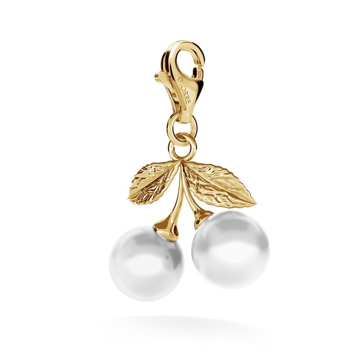 Srebrny charms dwie wisienki perły Swarovski, srebro 925