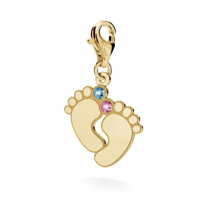CHARM 43, BABY FEET WITH ENGRAVE, STERLING SILVER RHODIUM OR 24K GOLD PLATED