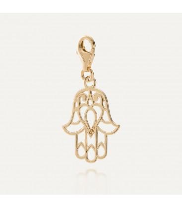 Srebrny charms zawieszka beads hamsa ręka fatimy, srebro 925