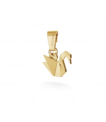 Origami swan charms pendant bead sterling silver