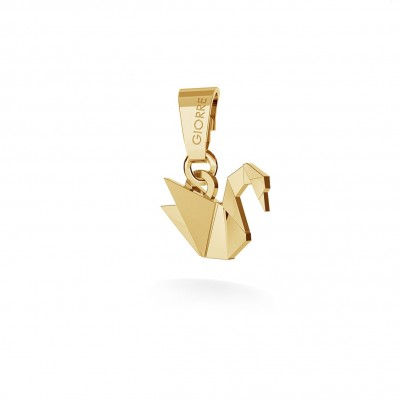 CHARM 38, ORIGAMI SWAN, SILVER 925, RHODIUM OR GOLD PLATED