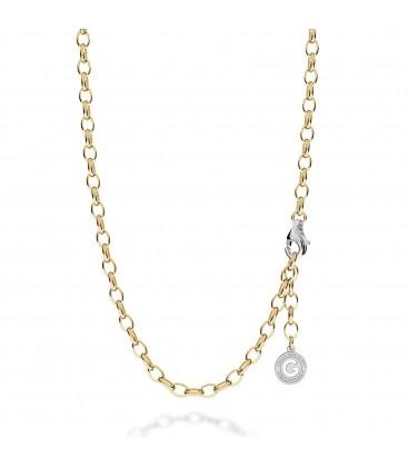 Cadena de plata 55-70 cm, rodio claro, cierre oro amarillo, eslabón 7x5 mm