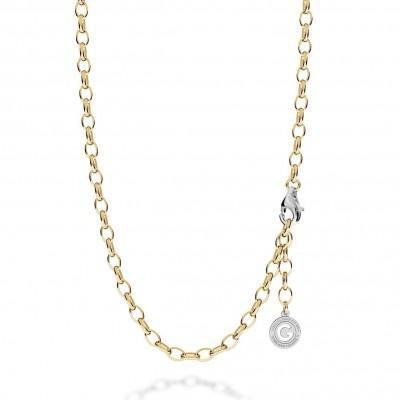 Gargantilla de plata 55-65 cm, rodio claro, cierre oro amarillo, enlace 7x5 mm