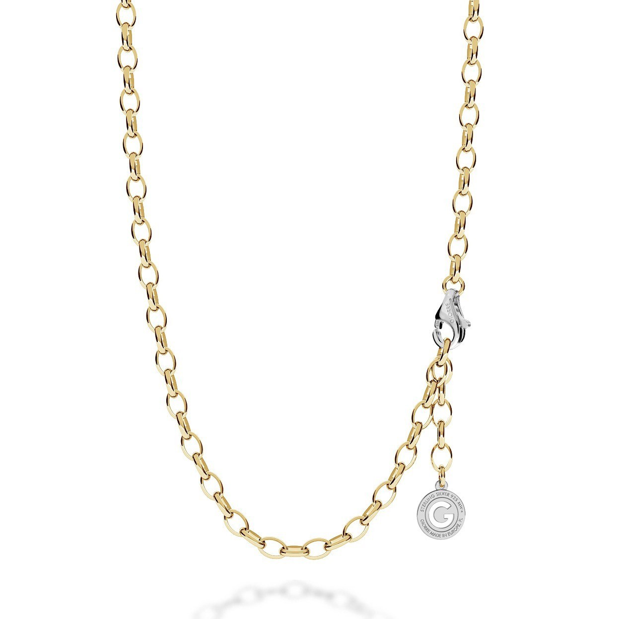 Sterling silver necklace 55-65 cm light rhodium, yellow gold clasp, link 7x5 mm
