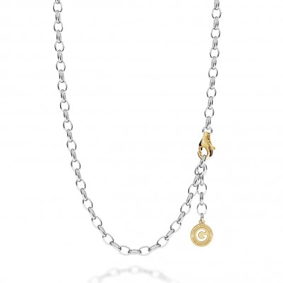Collier en argent 55-65 cm rhodium clair, fermoir or jaune, lien 7x5 mm