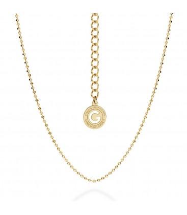 Collar gargantilla de plata con bolas 45-55 cm, plata chapada de oro o rodio