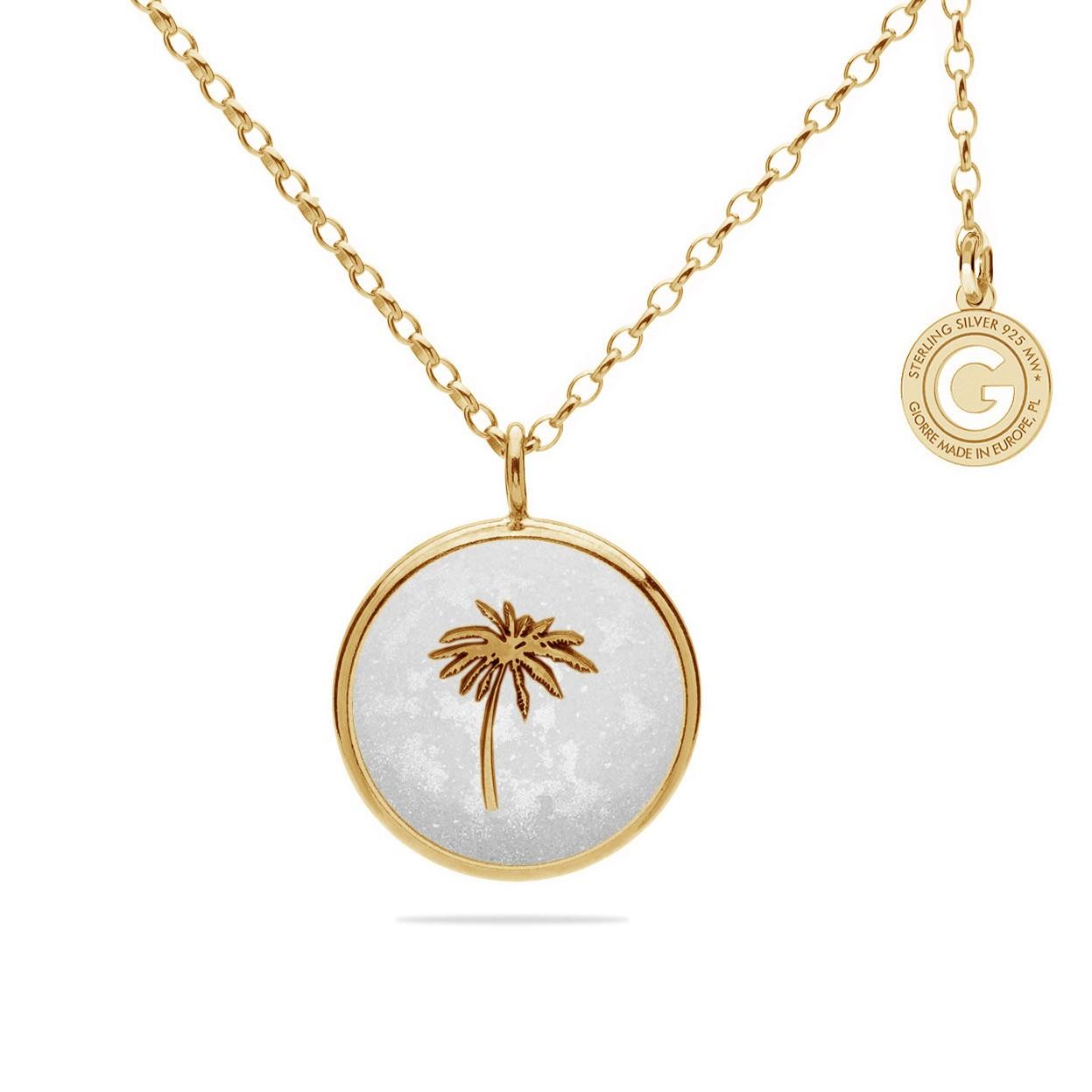 Srebrny medalion palma i biała żywica, srebro 925