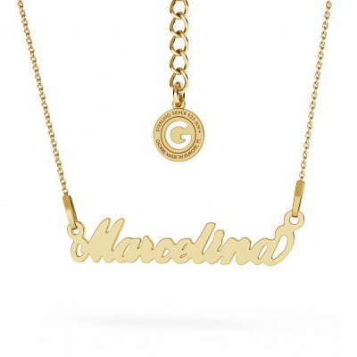 CARRIE STYLE NAME NECKLACE, RHODIUM OR 24K / 18K GOLD PLATED